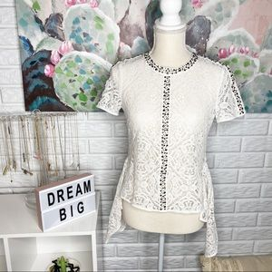BCBGMaAzria High low Ivory Crochet Lace Top